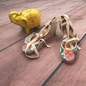 Coach Espadrille Wedge Shoes in Patchwork Print